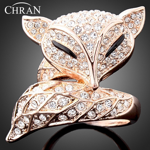 Unique Elegant Gold Color Fox Pattern Rings Jewelry Wholesale Shining Crystal Wedding Rings For Women ...