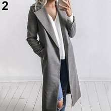 Women Loose Lapel Collar Solid Color Warm Coat Long Pockets Windbreaker Outwear