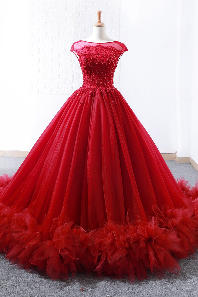 Robe de bal bordeaux mode robe de bal rouge 2018 saoudien Arbaic Design moderne pure dentelle Top Corset élégant robes de bal - 6