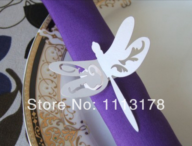 Cheap Paper Napkin Ring Dragonfly Napkin Holder Wedding Napkin Holders  Buckles Wedding Party Decorations White