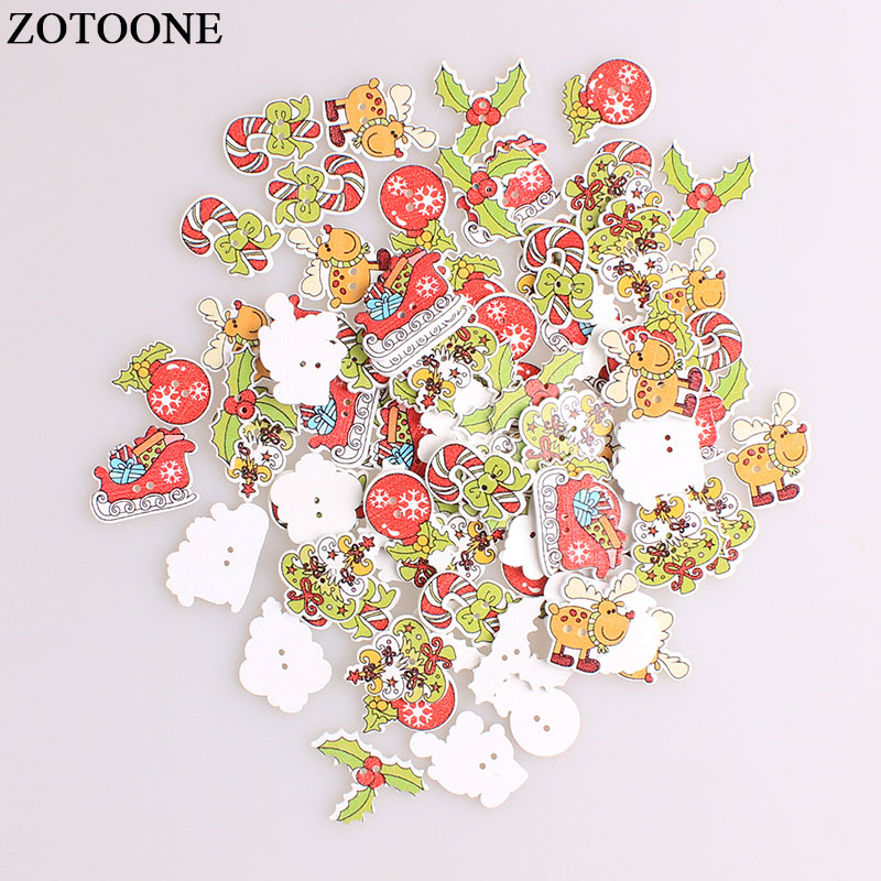 ZOTOONE Mix Christmas Elk Tree Wodden Buttons For Clothing DIY Scrapbooking Needlework Craft Sewing Wood Accessories A