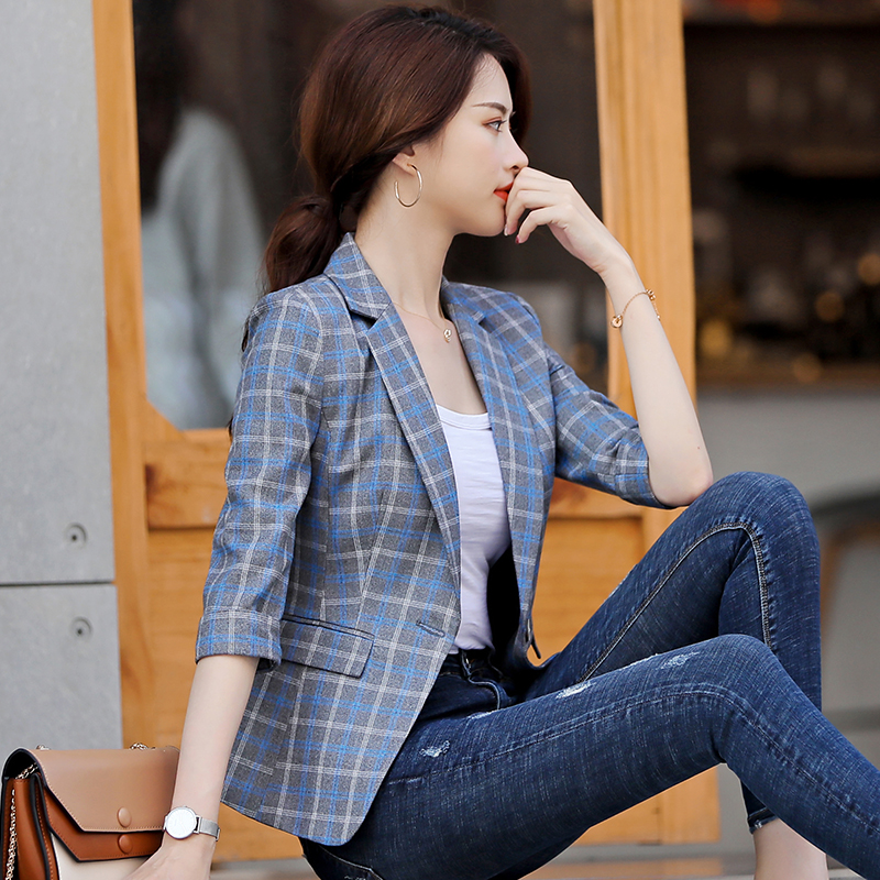 High-quality Blue Plaid Female Suit Jacket With Pocket Office Work Lady Fashion Casual Style Blazer Women Wear Coat Plus Size