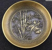 antique QingDynasty Copper dish, Bamboo reported safe bowl ,Hand crafts,Decoration,collection &Adornment,Free shipping