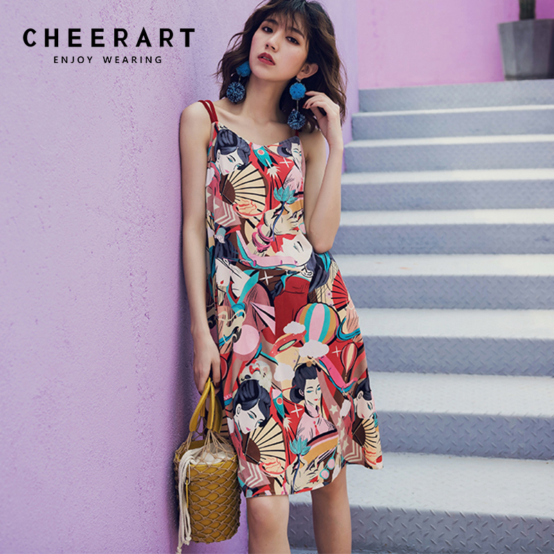 Cheerart Holiday Spaghetti Strap Summer Beach Dress Women Vintage Printed Floral Dress Holiday Wear Sundress Clothes