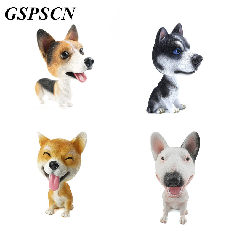 GSPSCN 2017 New Car 3D Cute Dogs Stickers Corgi Husky Shake Head Doll Dog Car Nodding Dog Internal Animal Creative Sticker