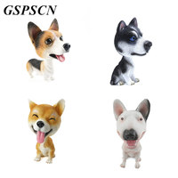 GSPSCN 2017 New Car 3D Cute Dogs Stickers Corgi Husky Shake Head Doll Dog Car Nodding
