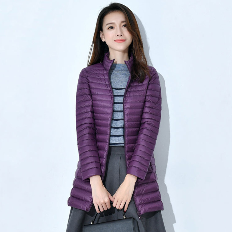 AKITSUMA Winter Coat Women Long Down Jacket Quilted Solid Ultra Light Down Jacket Female