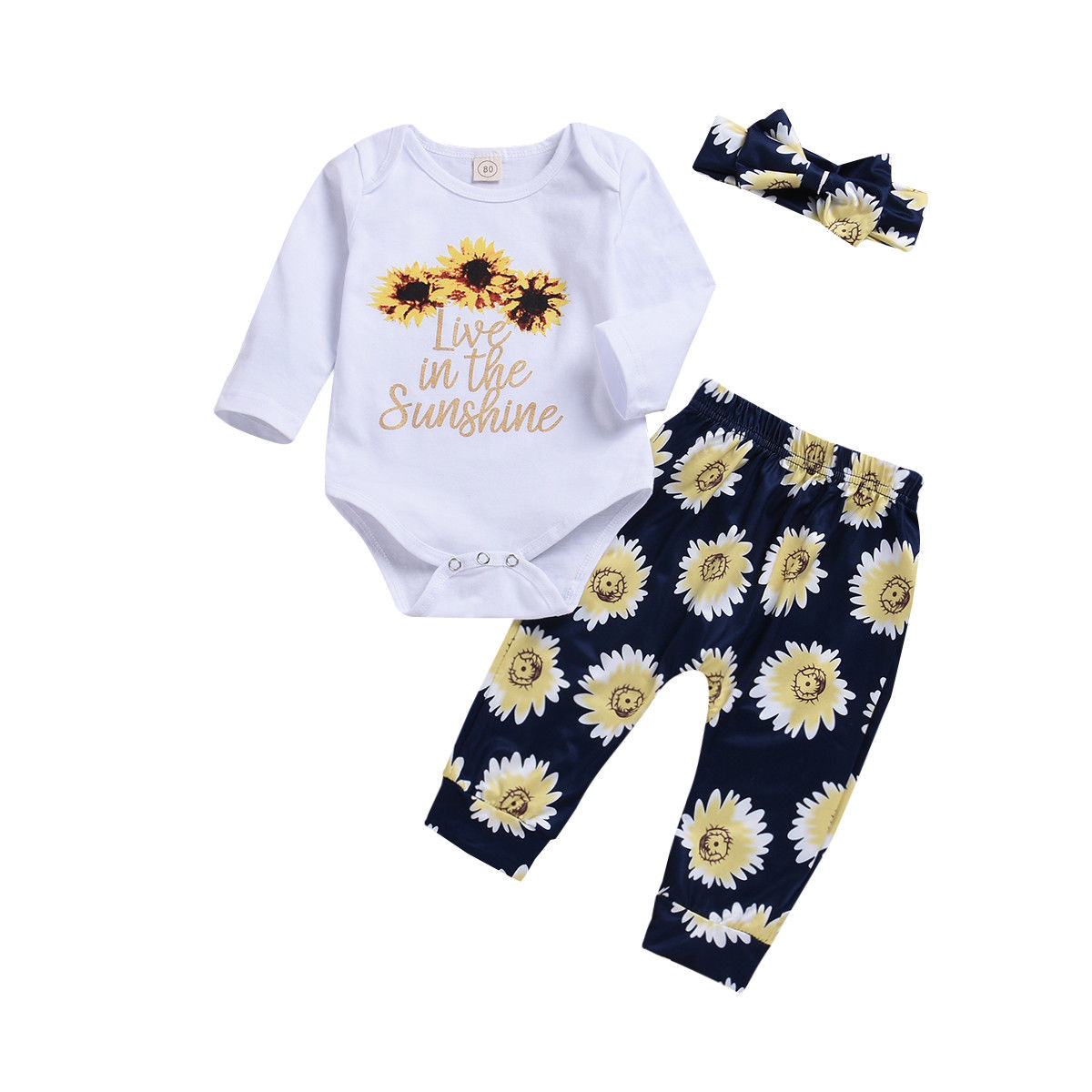 0-2T Toddler Newborn Infant Baby Girl Sunflower Outfits Cotton Flower Romper Tops+Pants Outfits Baby Girl Clothes Set DNOV newborn baby girls clothing 2018 toddler baby girl tops bodysuit romper flower pants bow headband 3pcs clothes outfits set