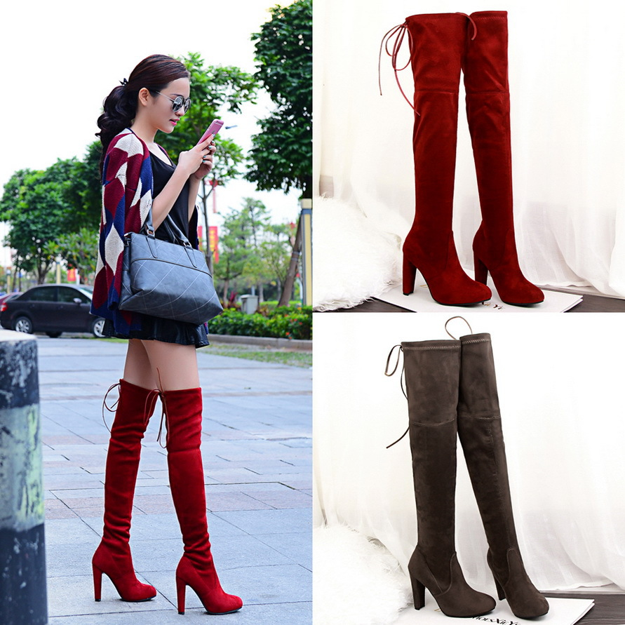 new fashion Women red black simple thick with high heeled suede pointed sexy night shop was thin pedicure knee boots ladies shoe