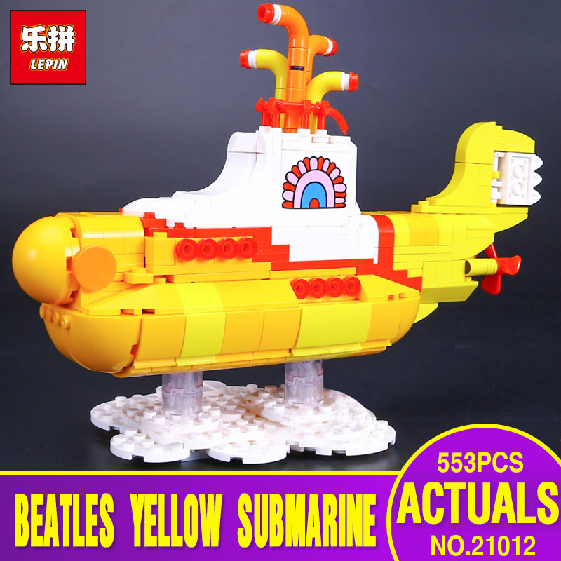 Lepin 21012 553Pcs IDEAS Series The Beatles Yellow Submarine Set 21306 Educational Building Blocks Bricks Children Toys Gifts lepin 21012 builder the beatles yellow submarine with 21306 building blocks bricks policeman toys children educational gift toys