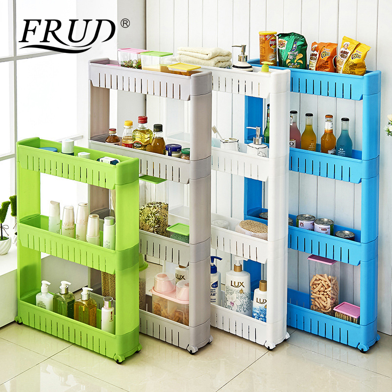 FRUD Multi-layer Refrigerator Side Shelf Multipurpose Shelf With Removable Wheels Crack Rack Bathroom Storage Storage Rack Shelf