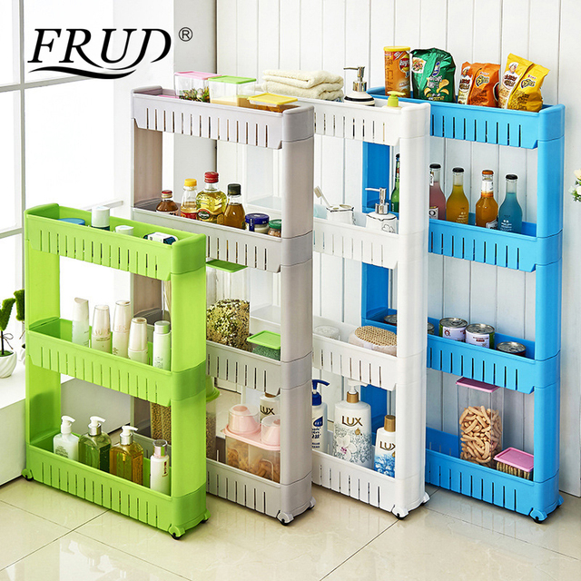 FRUD Multi layer Refrigerator Side Shelf Multipurpose Shelf with Removable Wheels Crack Rack Bathroom Storage Storage Rack Shelf