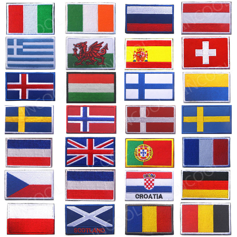 Embroidery Patches Badges Slovakia Romania Switzerland Spain France Belgium Greece Netherlands Poland Vatican Hungary Flag Patch(China)