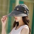 Mulheres Sunshading verão Dupla Chapéu Anti-uv Sol Grande Brim Chapéus de Praia boné de Pano Chapéu Viseira Tampas Esportivas Ao Ar Livre Para A Pesca de Viagem Nova