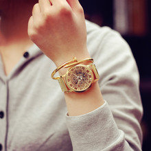 Relojes Hombre 2016 Stainless Steel Watch Montre Femme Large Dial Gold Watch Geneva Watch Women Strip Skeleton Watch Uhren