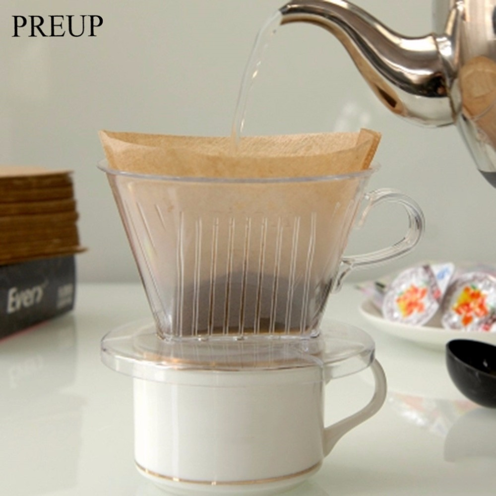 PREUP 2017 New Arrival PP Resin Coffee Filter Cup Coffee Drip bowls Manually Follicular Filters Coffee Tea Tools