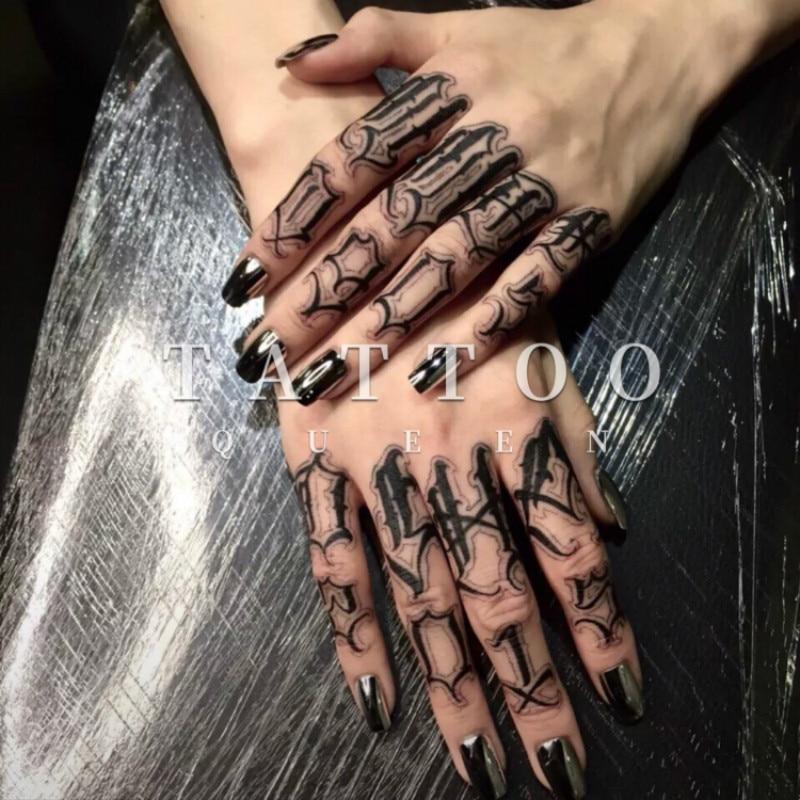 Waterproof Temporary Tattoo Sticker Gothic Words  Tattoo For Finger Tatto Stickers Flash Tatoo Fake Tattoos