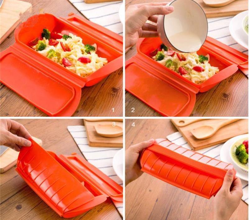 Realand 1-2 Personne Incroyable Silicone Cas De Vapeur Vapeur Cuisine Gadget Outil pour Four Micro-ondes sans Vidange Bac