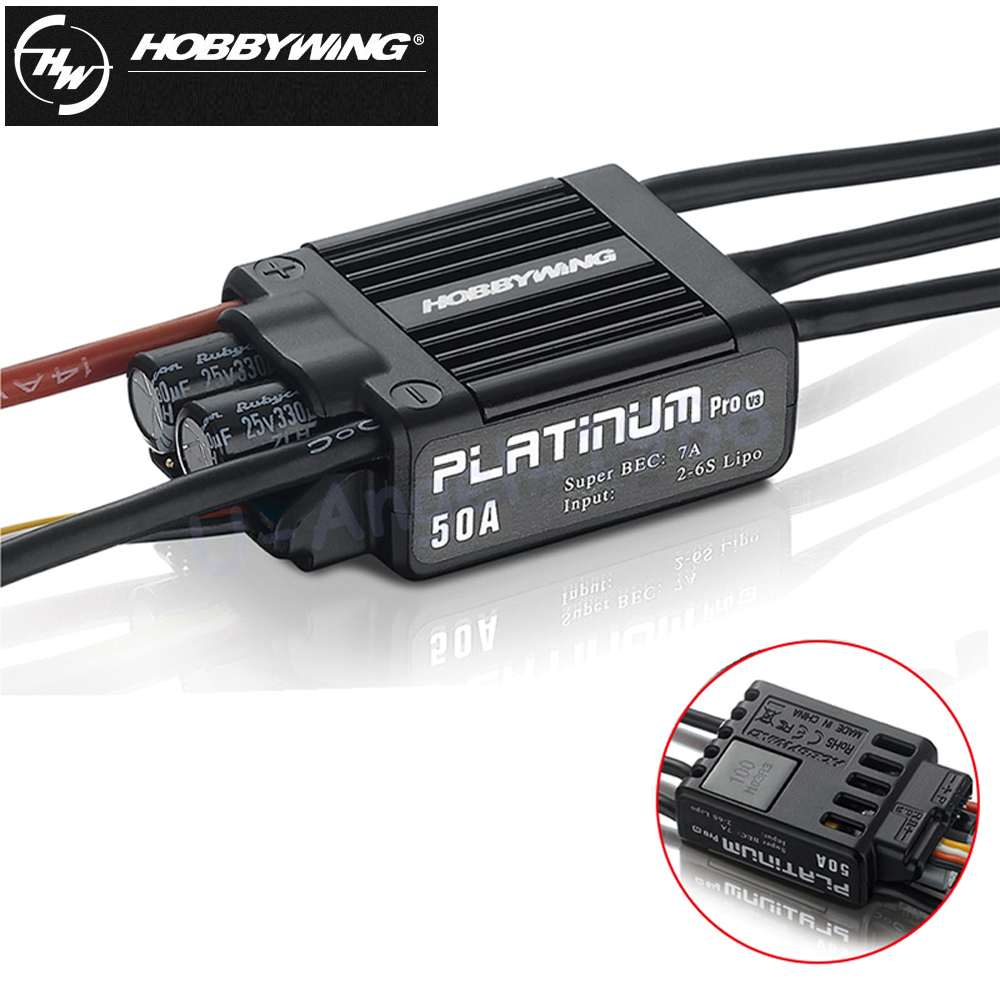 1pcs Original Hobbywing Platinum 50A V3 High Performance ESC for Align TREX 450 450L RC Helicopter Fixed Wing ESC 1pcs original hobbywing platinum 100a v3 rc model brushless esc for multicopter for align trex 550 600 700 rc helicopter fixed w
