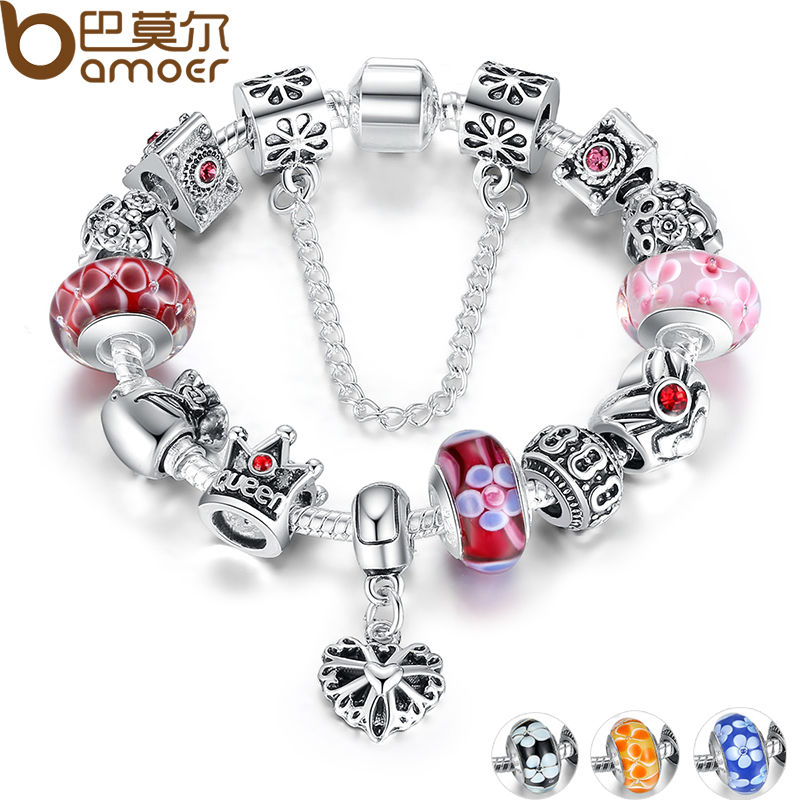BAMOER Queen Jewelry Silver Charms Bracelet & Bangles With Queen Crown Beads Bracelet for Women ANNIVERSARY SALE 2018 PA1823 foxer shoulder