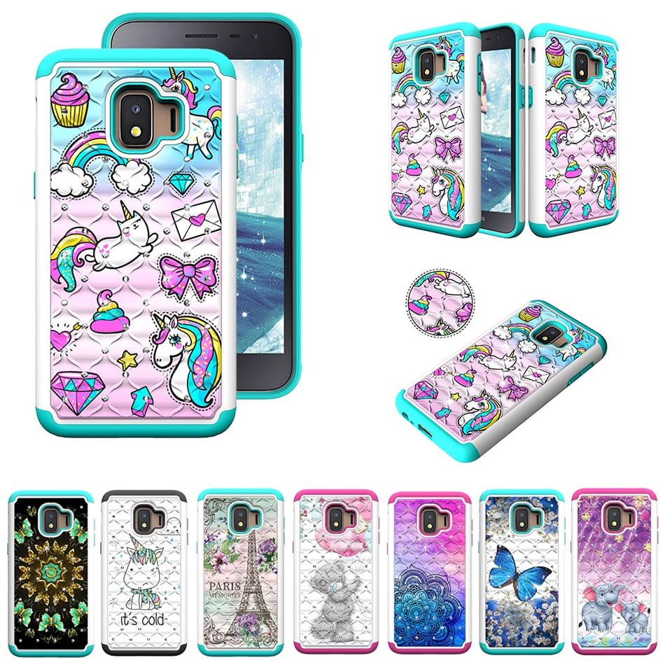 Bling Rhineston Silikon Pc Telefon Fall Für Samsung Galaxy J2 Core J3 Prime J7 Perx A6 S8 S9 Plus Hinweis 9 Muster Tpu Abdeckung C21 äSthetisches Aussehen