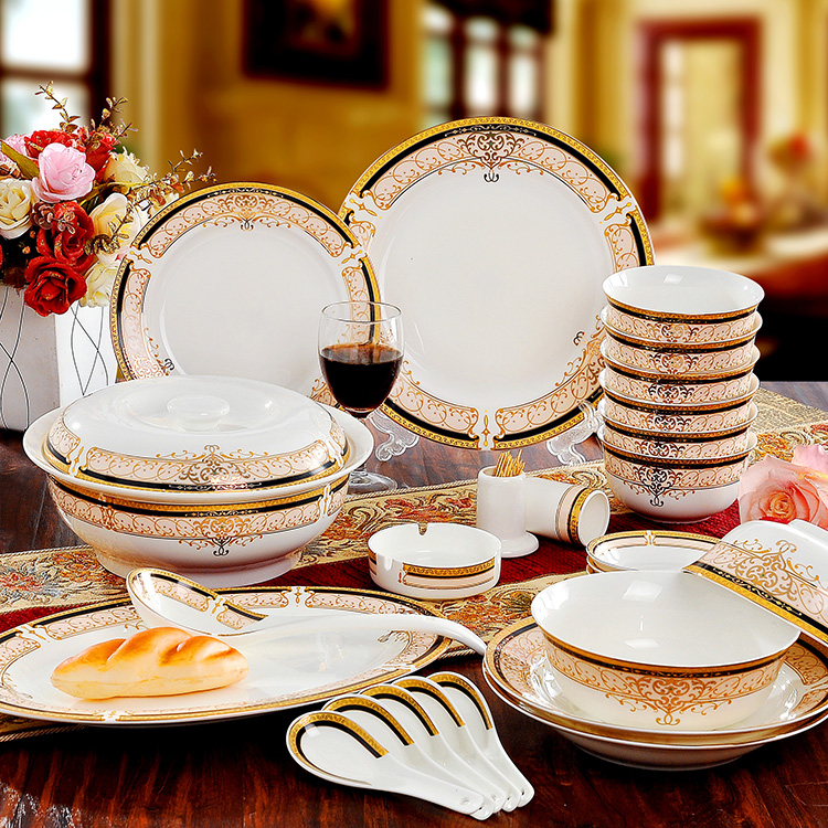 Bone China Dinnerware Set Ceramic Plates and Dishes Bowls 56pcs combination Tableware
