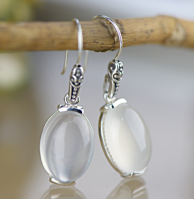 Sterling Silver Genuine White Jade Leverback Drop Earrings Hanging Earring 925 Sterling-silver Luxury Fine Jewelry цена 2017