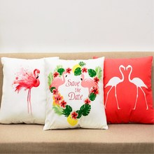 ФОТО free shipping 18*18inch flamingo tropical printed pillow cover home decorative pillowcase
