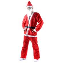Рождественский костюм Санта-Клауса, 5 шт., комплект для взрослых с поясом, шапка с бородой, штаны, новинка, костюм, костюм, одежда для косплея