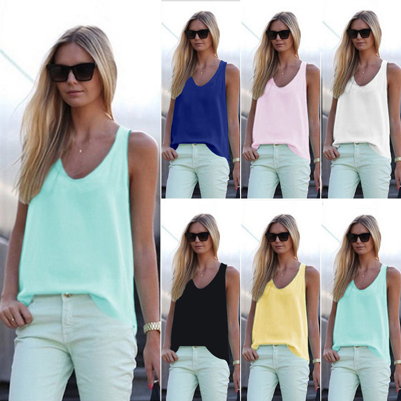 S-3XL Solid Colour Chiffon Shirt Sleeveless Ladies Strappy Vest Sport Summer Basic Silky   Top     Tanks     Top   Breathable Comfortable