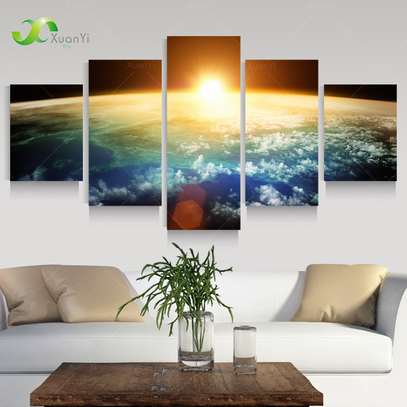 5 Panel Space Canvas Art Sunrise Painting Of Earth