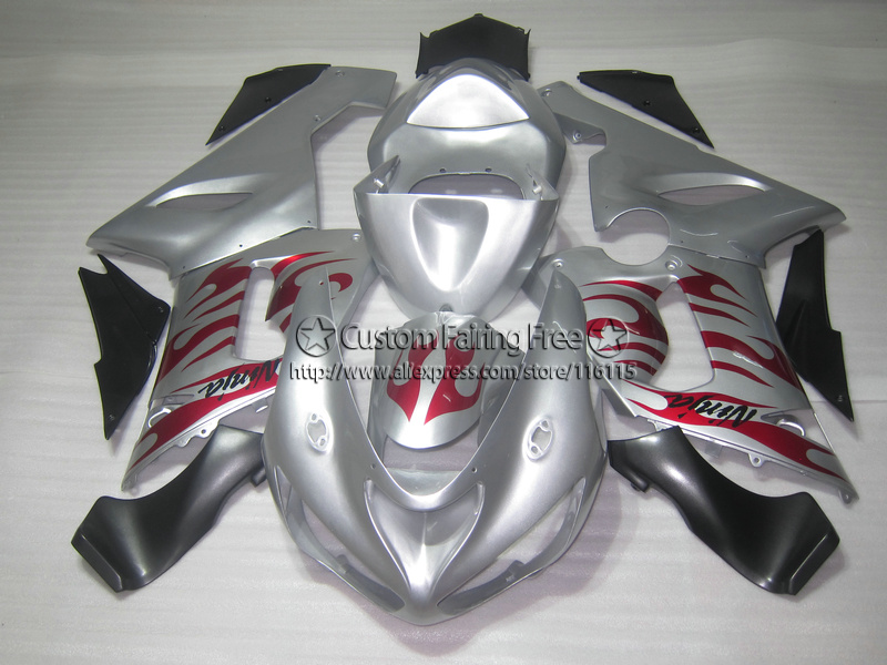Injection new motorcycle parts for Kawasaki ZX-6R 05 06 fairings ninja 636 zx6r 2005 2006 red flames in silver fairing kit ZA80 hot sales for kawasaki ninja kit zx6r 09 10 11 12 zx 6r 636 zx636 2009 2012 zx 6r motorcycle fairings parts injection molding