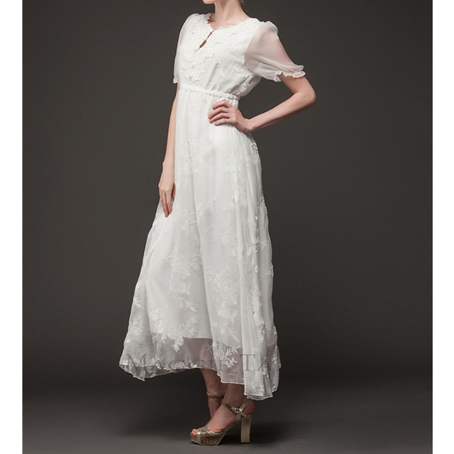f938b5f17 Maggie Tang Vintage White Medieval Renaissance Chemise Summer Beach Long  Dress New Arrival