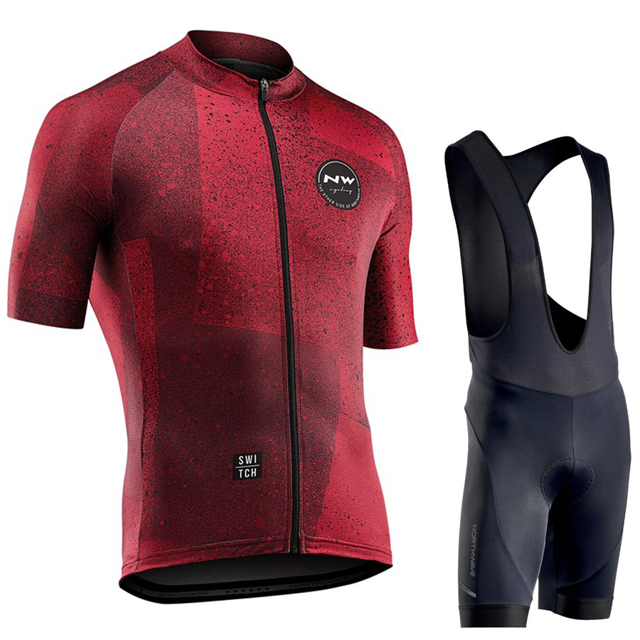 ノースウェーブ 2019 男性サイクリングジャージ夏半袖セットマイヨビブショーツ自転車服スポーツウェアシャツ服スーツ NW