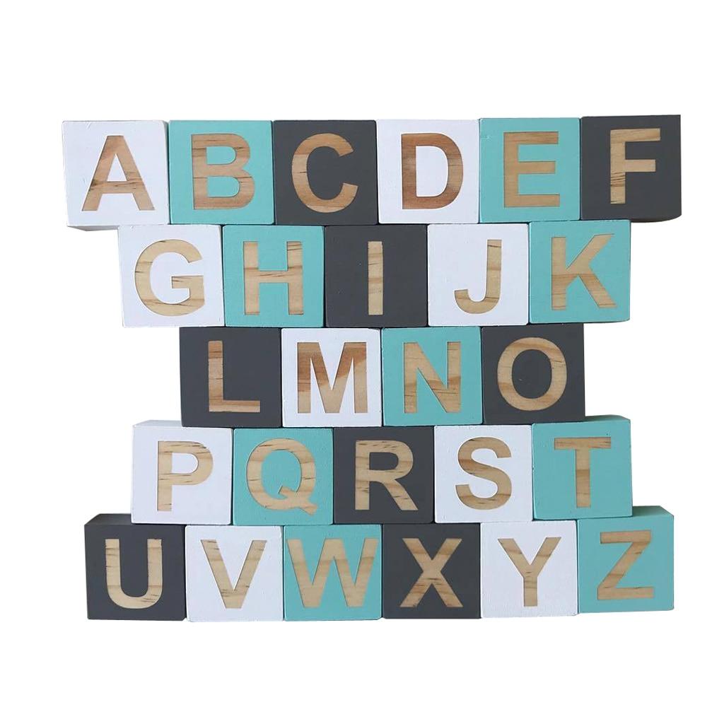 26 pièces lettres en bois anglais Alphabet mot bricolage nom Design Art Craft libre debout coeur forme mariage fête décor à la maison