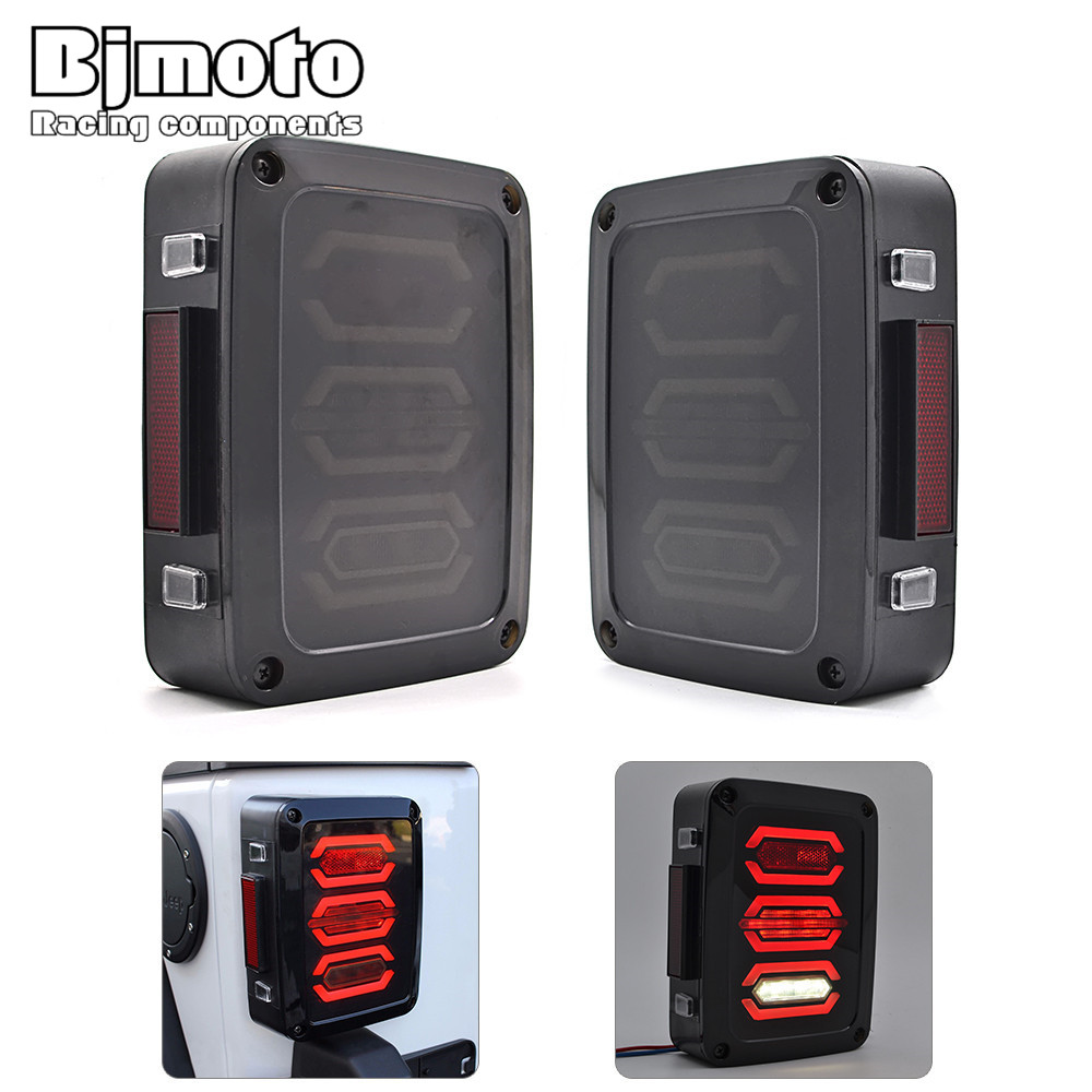 BJMOTO Pair US/EU LED Tail Lights 10W Running 18W Brake 4.5W Turn Signal Light 9W Reverse Lamps For Jeep Wrangler JK 07-16 led integrated taillight for jeep wrangler jk 2007 2016 snake style brake light reverse rear lights eu us version
