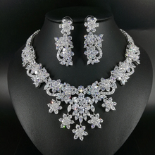 2019 new fashion luxury retro palace crystal flowers zircon necklace earring set,wedding bride dinner party formal jewelry set