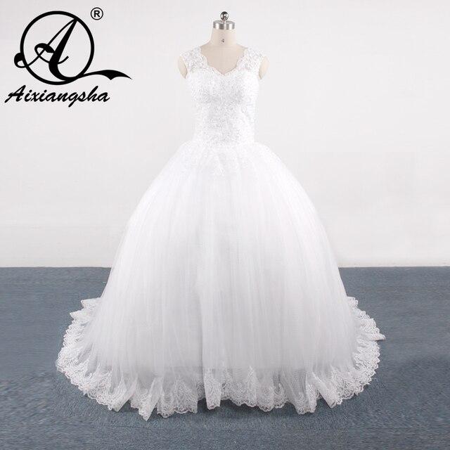 Elegant Affordable Ball Gown Wedding Dresses Sleeveless Lace Liques Transpa Ons Back Bow Sash
