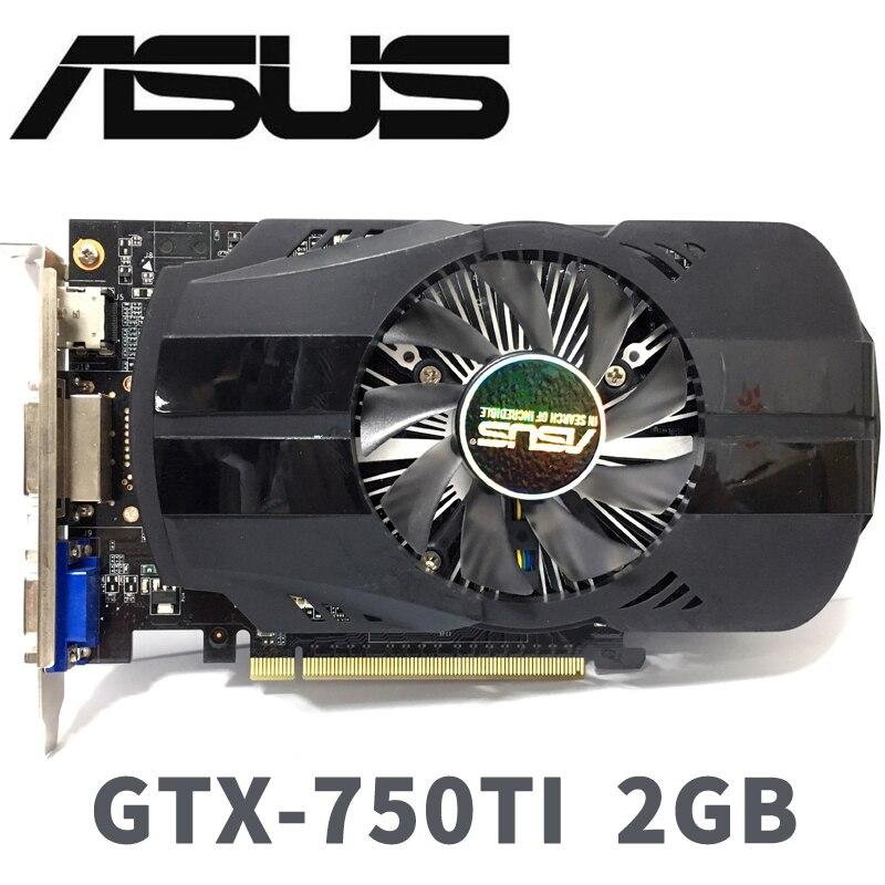 Asus GTX 750 TI GTX-750TI-OC-2GB GTX750TI 2G D5 DDR5 128 Bit PC Desktop Placas Gráficas PCI Express 3.0 computador placas gráficas