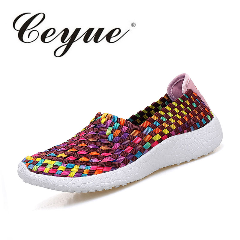 Ceyue 2017 Woven Shoes Women Flats Breathable Shallow Mouth Lazy Loafers Slip Resistant Comfort Flat Handmade Shoes Size 35-40 2015 summer shallow mouth of canvas shoes women shoes a pedal lazy shoes casual flat white shoes korean wave shoes