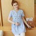Maternidade verão 2017 nova camisa de algodão bordado Com Decote Em V T-shirt de mangas curtas-Coreano atacado 6018