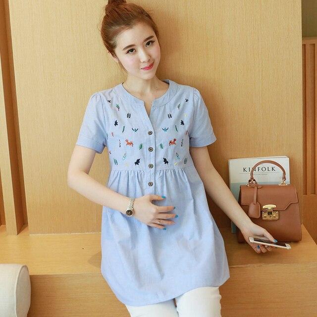 Maternity summer 2017 new Korean short-sleeved cotton shirt embroidered V-neck T-shirt wholesale 6018
