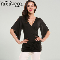 Meaneor Women T Shirt Spring Autumn New Casual Solid Half Flare Sleeve V Neck Slim Pleated