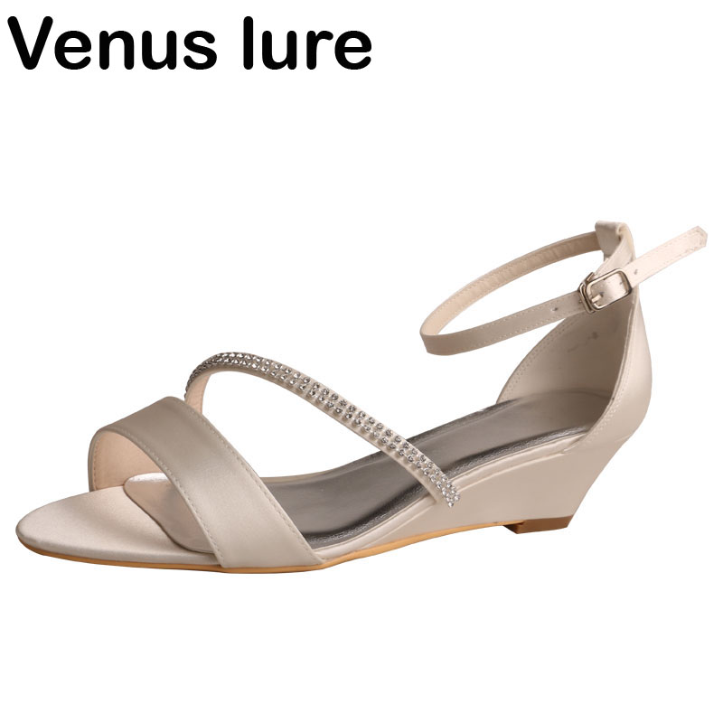 Small Wedge Heel Wedding Shoes for Summer Ivory Satin Women Diamante Sandals