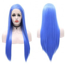 JOY&BEAUTY Heat Resistant Fiber Hair Synthetic Wig Mermaid Blue Color Silk Straight Synthetic Lace Front Wigs for Women Wigs(China)