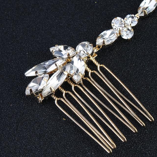 Wedding Scattered Rhinestone Headband Bridal Chain Bride Comb Bridesmaid Headpiece Golden Hair Jewelry Accessories Boho Chic