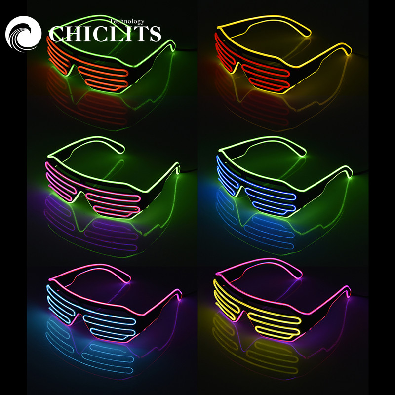 New Two-Color Luminous Glasses Blinds Modes Flash EL LED Glasses Colorful Glowing Classic Toys Glasses For Dance DJ Party