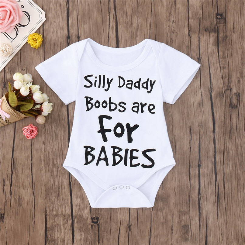 DERMSPE 2019 New Casual Newborn Baby Boys Girls Short Sleeve Letter Printed Cotton Romper Jumpsuit Clothes White Hot Sales
