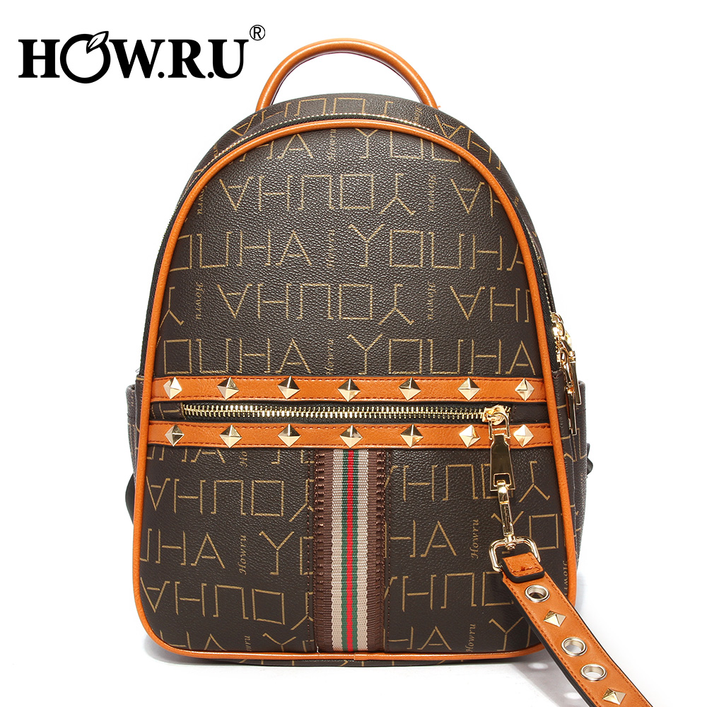 HOWRU Rivet Zipper กระเป๋าเป้สะพายหลังผู้หญิงกระเป๋าเป้สะพายหลังที่มีชื่อเสียงแบรนด์ PU หนัง Vintage กระเป๋าเป้สะพายหลังแล็ปท็อปกระเป๋าโรงเรียนหญิงสำหรับวัยรุ่นกระเป๋า-ใน กระเป๋าเป้ จาก สัมภาระและกระเป๋า บน AliExpress - 11.11_สิบเอ็ด สิบเอ็ดวันคนโสด 1