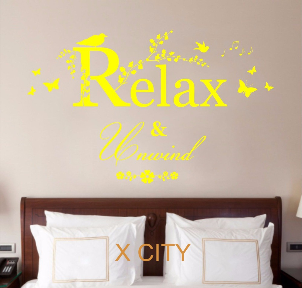 Relax Unwind Quote Creative Vinyl Wall Decal Art Decor Sticker Room ...